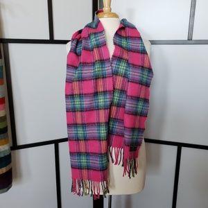 D&Y hot pink/blue/gree plaid fringed scarf